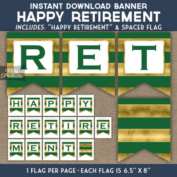 Retirement Banner - Green Gold Horizontal Stripes