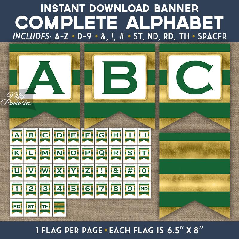 Alphabet Party Banner - Green Gold Horizontal Stripes
