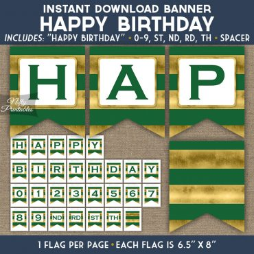Happy Birthday Banner - Green Gold Horizontal Stripes