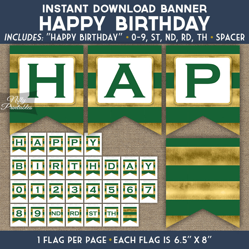 Happy Birthday Banner - Green Gold Horizontal Stripes