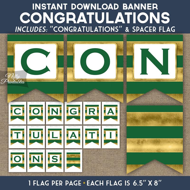 Congratulations Banner - Green Gold Horizontal Stripes