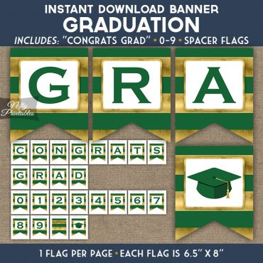Graduation Banner - Green Gold Horizontal Stripes