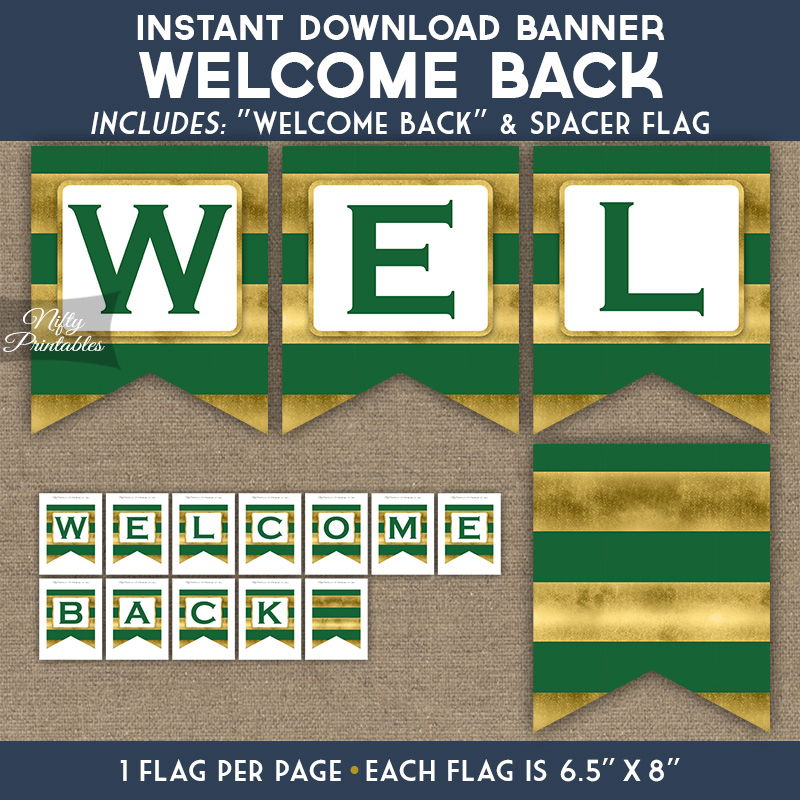 Welcome Back Banner - Green Gold Horizontal Stripes