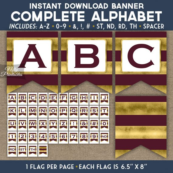 Alphabet Party Banner - Maroon Gold Horizontal Stripes