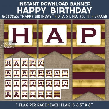 Happy Birthday Banner - Maroon Gold Horizontal Stripes