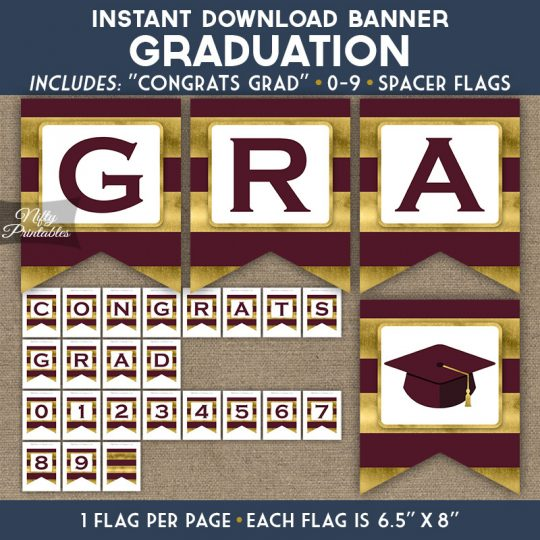 Graduation Banner - Maroon Gold Horizontal Stripes