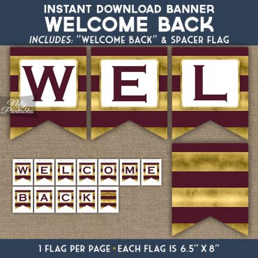 Welcome Back Banner - Maroon Gold Horizontal Stripes
