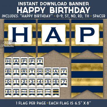 Happy Birthday Banner - Navy Blue Gold Horizontal Stripes