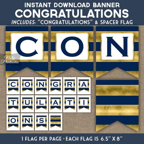 Congratulations Banner - Navy Blue Gold Horizontal Stripes