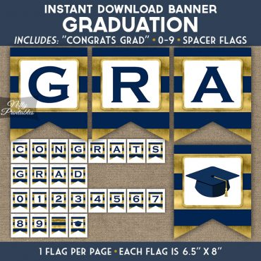 Graduation Banner - Navy Blue Gold Horizontal Stripes