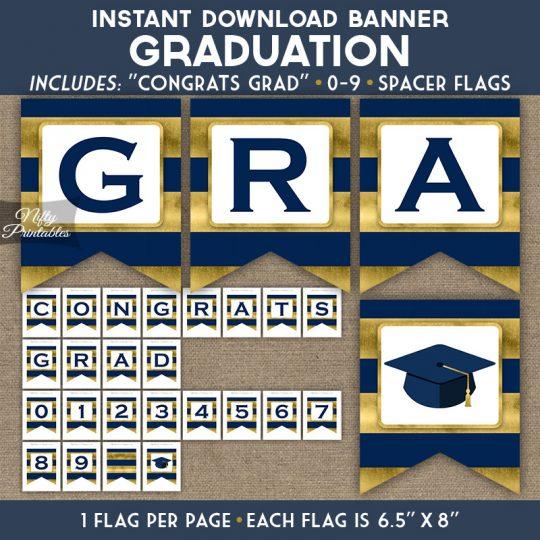 Graduation Banner - Navy Blue Gold Horizontal Stripes