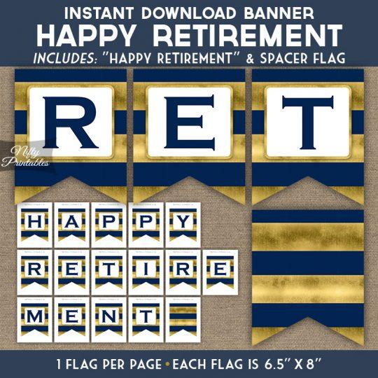 Retirement Banner - Navy Blue Gold Horizontal Stripes