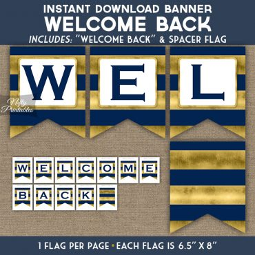 Welcome Back Banner - Navy Blue Gold Horizontal Stripes
