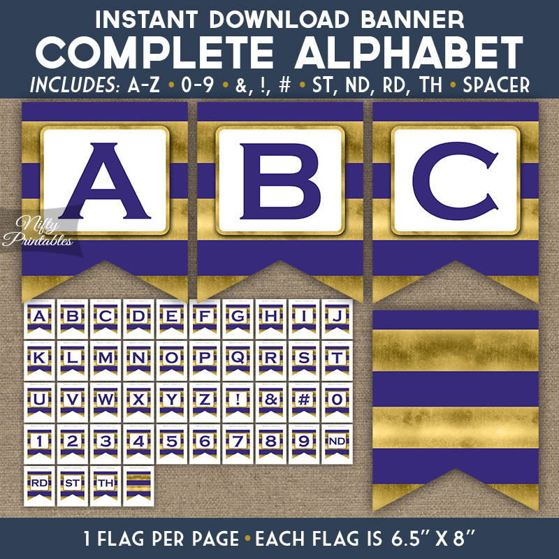 Alphabet Party Banner - Purple Gold Horizontal Stripes