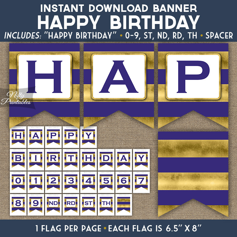 Happy Birthday Banner - Purple Gold Horizontal Stripes