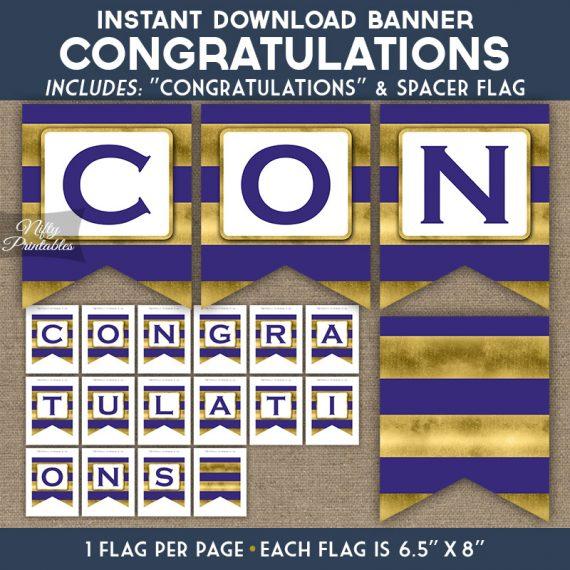 Congratulations Banner - Purple Gold Horizontal Stripes
