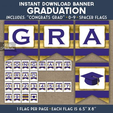 Graduation Banner - Purple Gold Horizontal Stripes