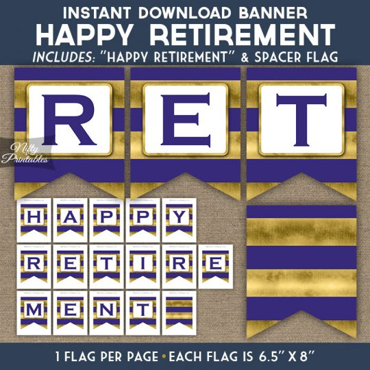 Retirement Banner - Purple Gold Horizontal Stripes