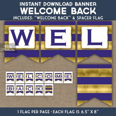 Welcome Back Banner - Purple Gold Horizontal Stripes