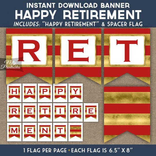 Retirement Banner - Red Gold Horizontal Stripes