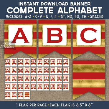 Alphabet Party Banner - Red Gold Horizontal Stripes