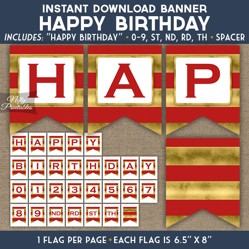 Happy Birthday Banner Red Gold Horizontal Stripes Nifty Printables
