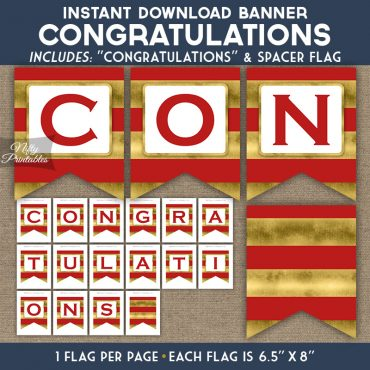 Congratulations Banner - Red Gold Horizontal Stripes