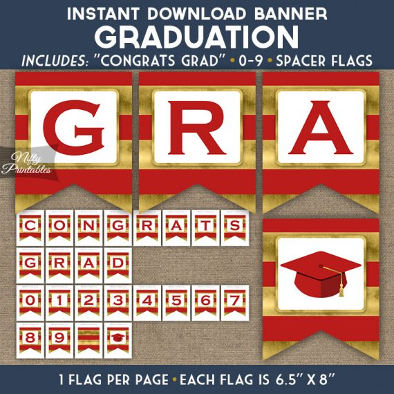 Graduation Banner - Red Gold Horizontal Stripes