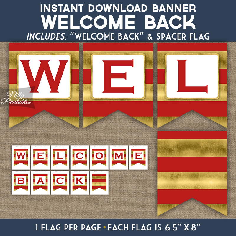 welcome back banner red gold horizontal stripes nifty printables