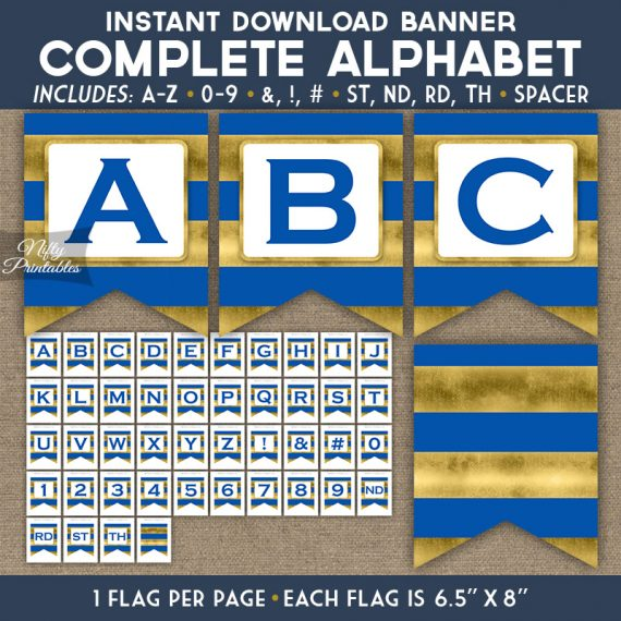 Alphabet Party Banner - Royal Blue Gold Horizontal Stripes