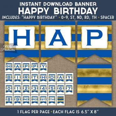 Happy Birthday Banner - Royal Blue Gold Horizontal Stripes