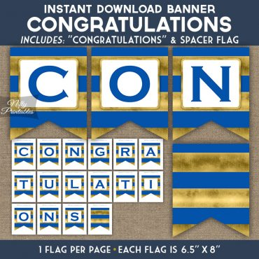 Congratulations Banner - Royal Blue Gold Horizontal Stripes