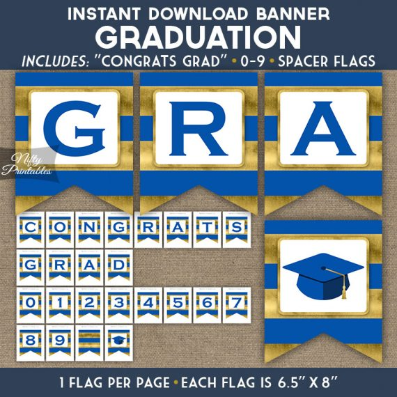 Graduation Banner - Royal Blue Gold Horizontal Stripes