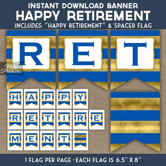 Retirement Banner - Royal Blue Gold Horizontal Stripes
