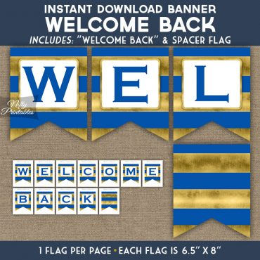 Welcome Back Banner - Royal Blue Gold Horizontal Stripes