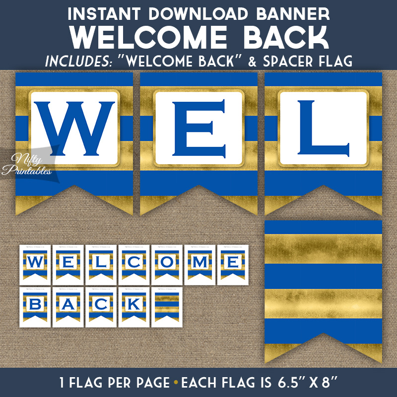image about Welcome Back Banner Printable known as Welcome Again Banner - Royal Blue Gold Horizontal Stripes