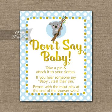 Don't Say Baby Shower Game - Koala Blue Gold