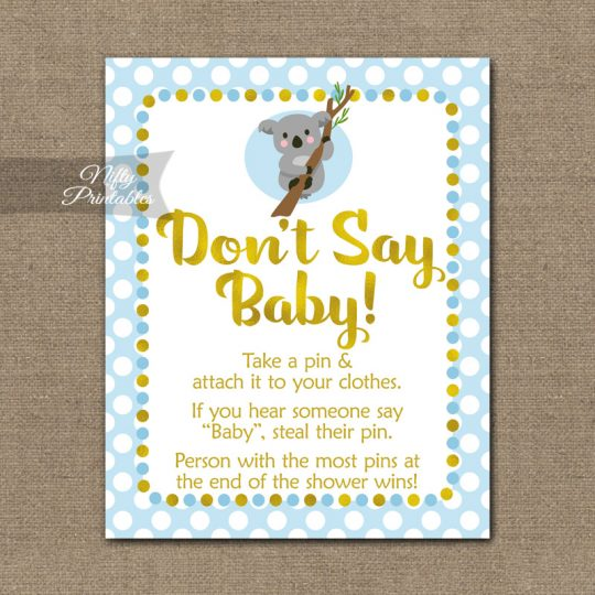 Don't Say Baby Shower Game - Koala Blue Gold