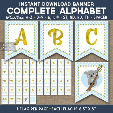 Alphabet Party Banner - Koala Blue Gold