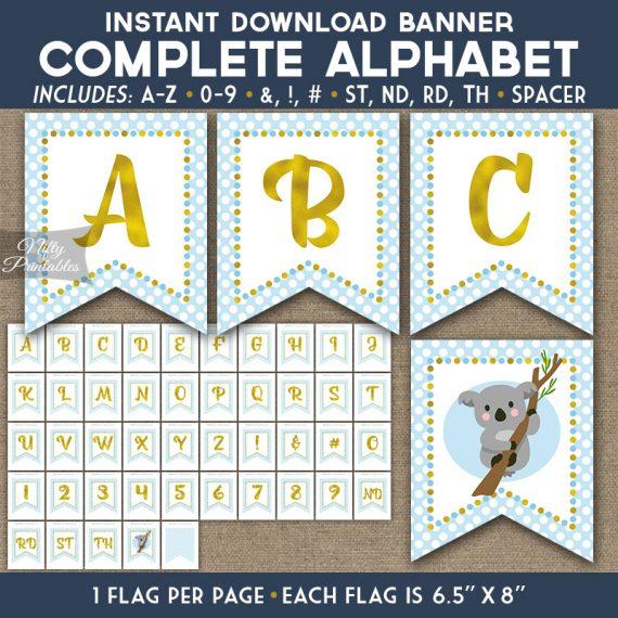 Alphabet Party Banner - Koala Blue Gold