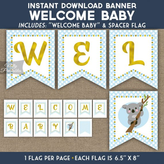 Baby Shower Banner - Koala Blue Gold