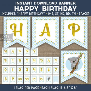 Happy Birthday Banner - Koala Blue Gold