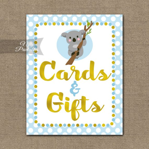 Cards Gifts Sign - Koala Blue Gold