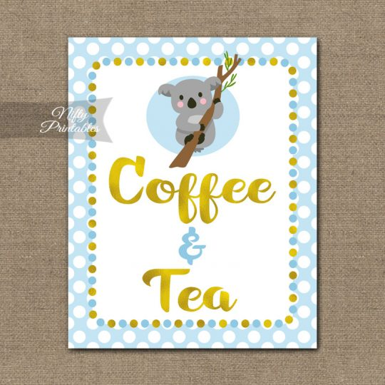 Coffee & Tea Sign - Koala Blue Gold