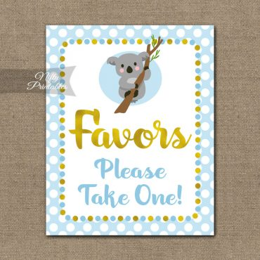 Favors Sign - Koala Blue Gold
