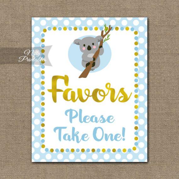 Favors Sign - Koala Blue Gold