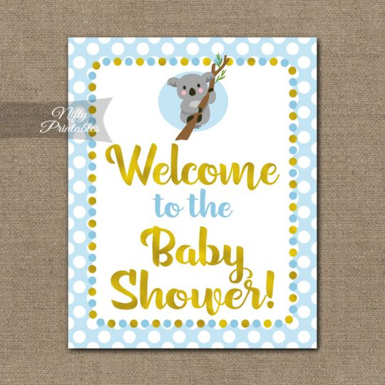 Baby Shower Welcome Sign - Koala Blue Gold