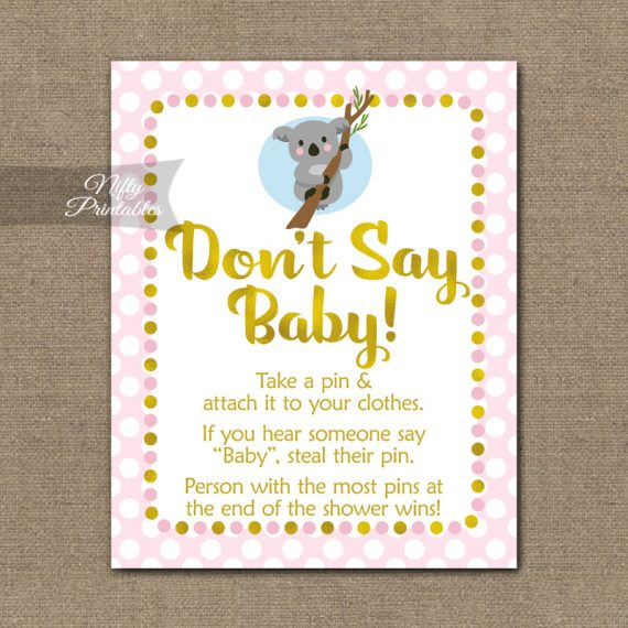 Don't Say Baby Shower Game - Koala Pink Gold