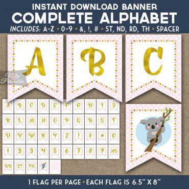 Alphabet Party Banner - Koala Pink Gold