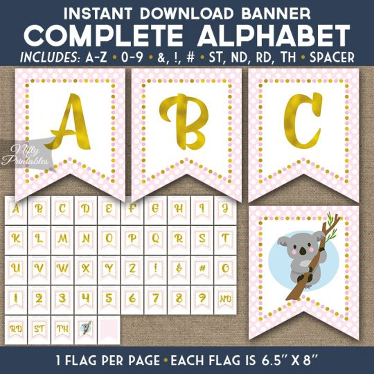 Alphabet Party Banner - Koala Pink Gold